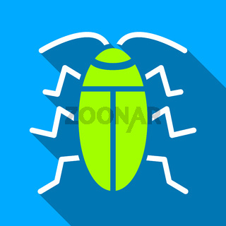 Cockroach Flat Long Shadow Square Icon