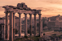 Rome, Italy:Temple of Saturn n the Roman Forum