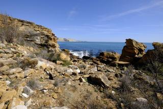 Felsküste am Atlantik zwischen Burgau und Luz, Algarve, Portugal