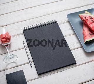 Sketchbook on kitchen table