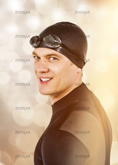 Composite image of close-up of confident swimmer in wetsuit