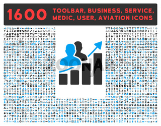 Audience Growth Icon with Large Pictogram Collection