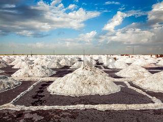 Salt mine at lake