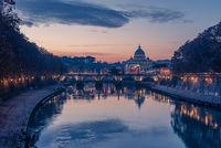 Rome, Italy: St. Peter#39;s Basilica and Saint Angelo Bridge
