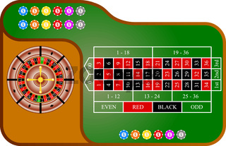 Tables, American  Roulette. Vector illustration.