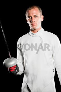 Swordsman holding fencing sword