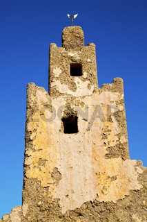 old brown construction in africa   morocco   the tower