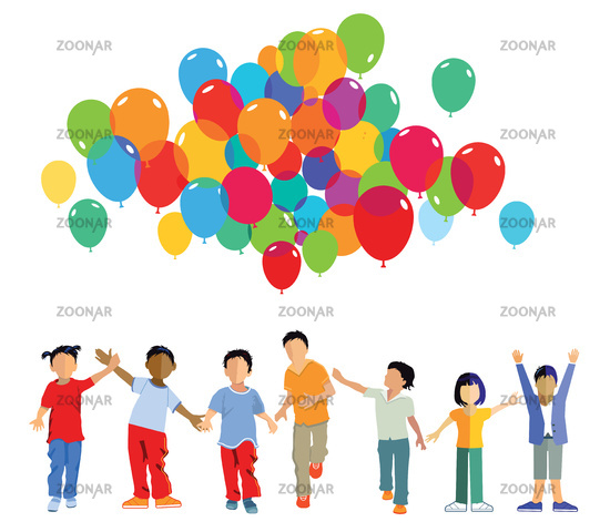 funny kids group with balloons