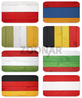 Abstract flags of different countries.