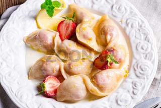 pierogi with strawberries