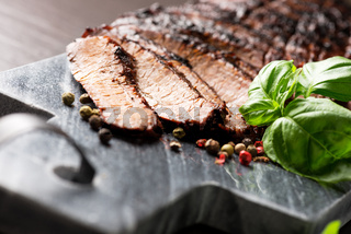 sliced medium grilled beef steak