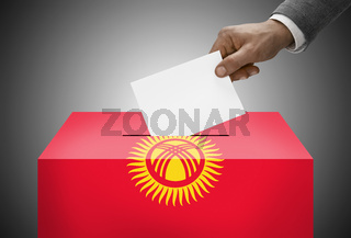 Ballot box painted into national flag colors - Kyrgyzstan