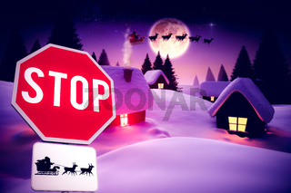 Composite image of christmas road sign