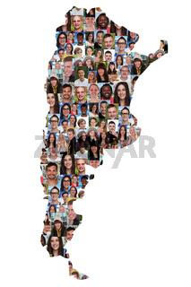 Argentinien Karte Menschen junge Leute Gruppe Integration multikulturell Vielfalt