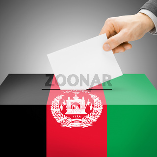 Voting concept - Ballot box painted into national flag colors - Afghanistan