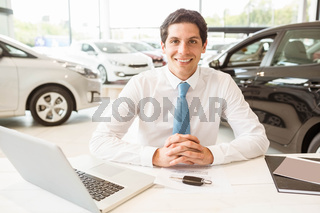 Smiling salesman behind his desk