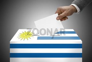 Ballot box painted into national flag colors - Uruguay