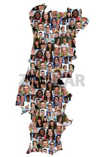 Portugal Karte Menschen junge Leute Gruppe Integration multikulturell Vielfalt