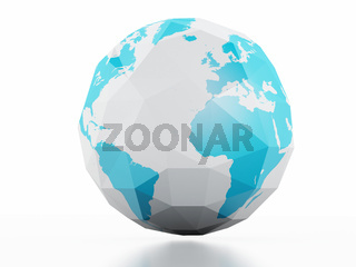 Planet Earth white background. Low poly 3d image.