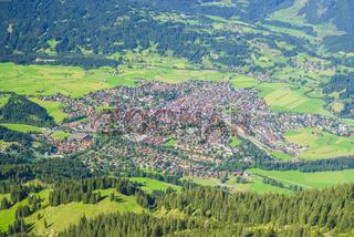 Panorama vom Geißalphorn, 1953m, auf Oberstdorf, Allgäuer Alpen, Allgäu, Bayern, Deutschland, Europa