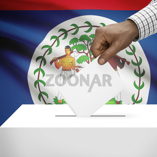 Ballot box with national flag on background - Belize
