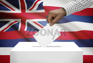 Voting concept - Ballot box with US state flag on background - Hawaii