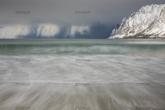 snow shower above the Atlantic, Senja, Norway
