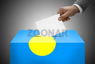 Ballot box painted into national flag colors - Palau