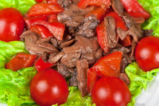 Roasted beef and mushrooms