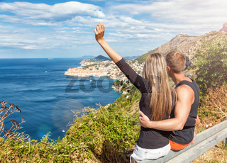 Happy couple enoying the view of Dubrovnik