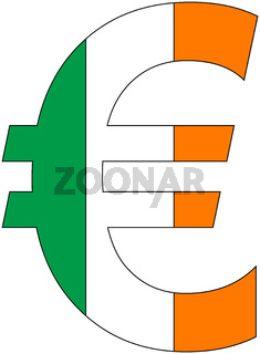 euro with flag of ireland