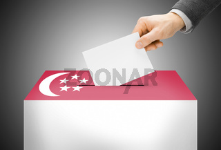 Voting concept - Ballot box painted into national flag colors - Singapore