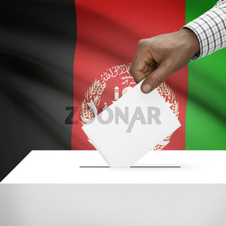 Ballot box with national flag on background - Afghanistan