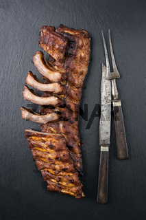 Spare Ribs on Black Background