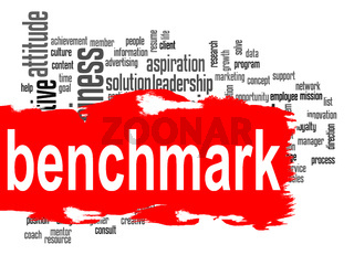 Benchmark word cloud with red banner