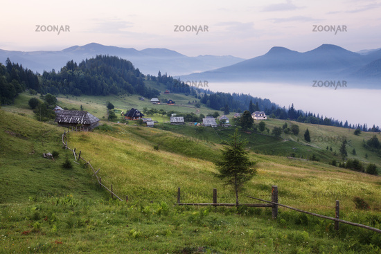 Mountains rural landscape before sunrise