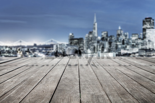 wood floor with cityscape of San Francisco