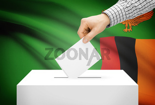 Voting concept - Ballot box with national flag on background - Zambia