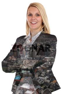 Business Konzept Geschäftsfrau Frau Portrait Manager Stadt Doppelbelichtung