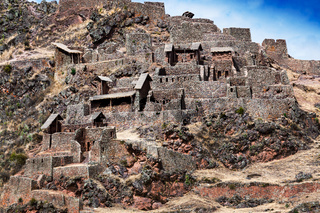 Inca ancient fortress in mountains
