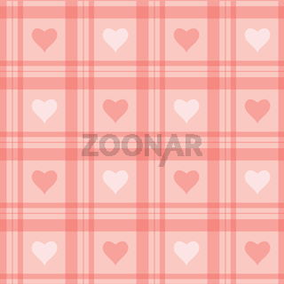 seamless background. Pink checkered wallpaper with hearts.