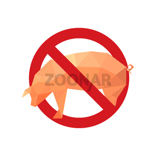 Illustration with forbidden icon and origami pig