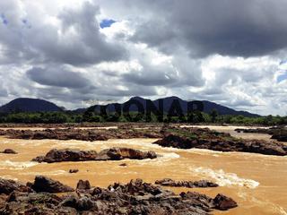 Liphi waterfalls or mekong river on the rainy season, Don Khone, Siphan Don, Southern of Laos