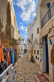 Narrow street of ancient Medina, Hammamet, Tunisia, Mediterranea