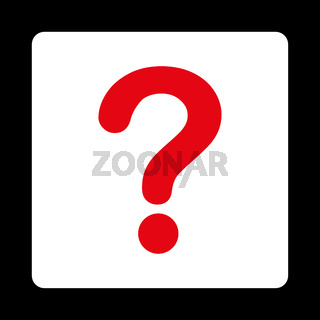 Question flat red and white colors rounded button