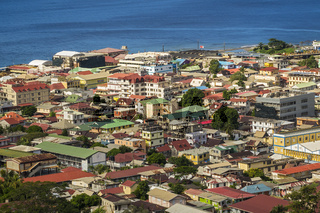 Elevated View Of Roseau Town Dominica West Indies