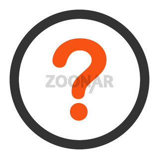 Question flat orange and gray colors rounded raster icon