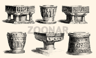 Early English stone baptismal fonts, period norman