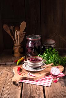spicy red cabbage Sauerkraut