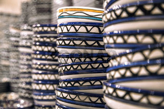 Stacks of plates with the national pattern Jordan